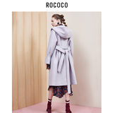 Rococo special hooded trumpet sleeves waist thin woolen coat female long coat