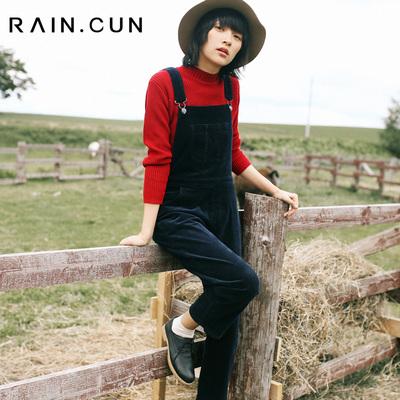 然与纯日系 冬季款灯芯绒背带裤女复古保暖加厚深色条绒长裤