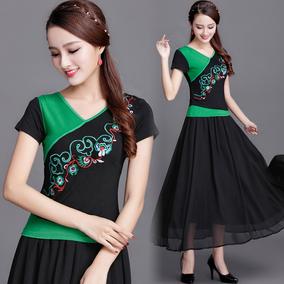 民族风女装短袖上衣 夏季新款中国风绣花T恤女拼色大码弹力打底衫