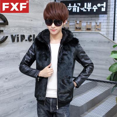 青少年男士加绒卫衣皮衣褂子外套男韩版帅气短款毛绒夹克上衣男装