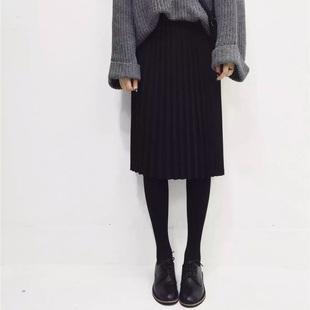 JNS 厚雪纺黑色百褶裙半身裙中长裙秋冬装女裙高腰显瘦百搭学院风