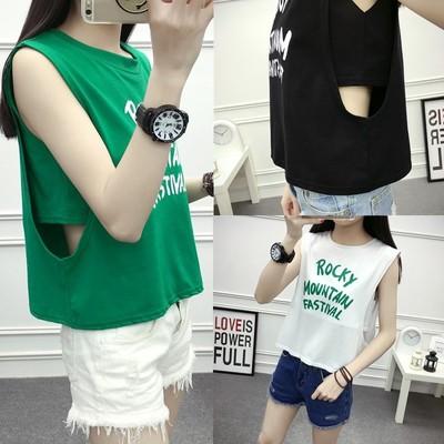 原宿夏季新款韩版字母印花无袖外穿宽松休闲假两件背心T恤女学生