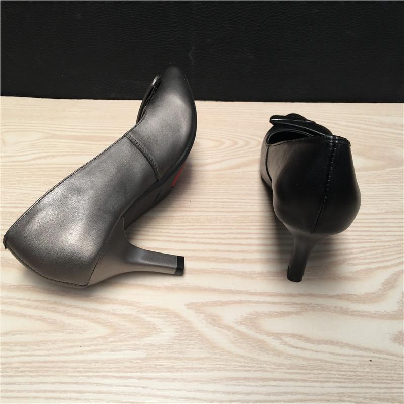 新款断码清仓春季真皮舒适女鞋头层牛皮高跟软底休闲女单鞋