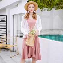 大码女装胖mm2018夏装新款吊带裙200斤仙裙南岛风 显瘦藏肉连衣裙
