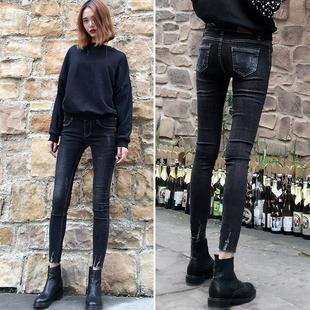 显瘦新款黑灰色拼色弹力牛仔裤女破洞紧身包腿小脚裤铅笔九分裤