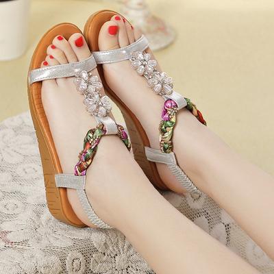 坡跟凉鞋女夏金特 百丽新款厚底防水台波西米亚水钻防滑软底女鞋