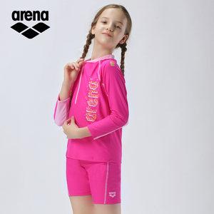 arena阿瑞娜 2019儿童泳衣男女童长袖短裤分体游泳衣防晒舒适抗氯