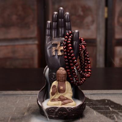 新款禅意倒流香炉观音如来佛手创意陶瓷家用室内沉檀香倒流香摆件