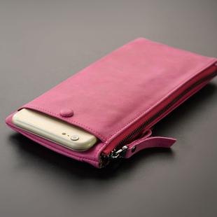 超薄软皮 手机卡位女式真皮牛皮纯皮拉链手拿抓零钱手包长款钱包