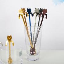 304不锈钢创意可挂可爱猫咪咖啡勺长柄搅拌勺甜品勺糖勺小勺子