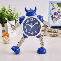 金属机器人儿童闹钟学生用静音创意简约卧室床头可爱卡通时钟男孩