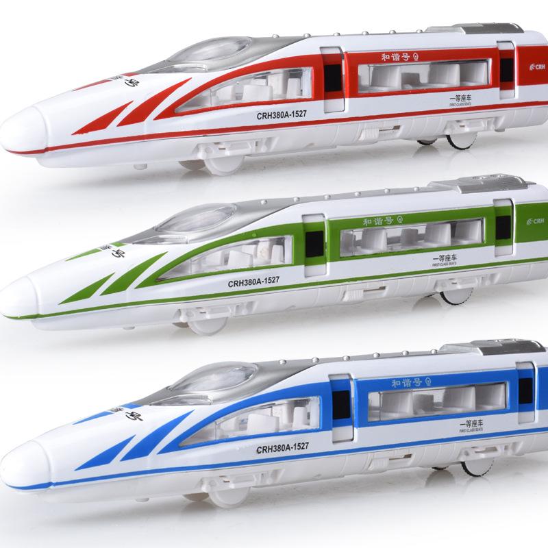 铠威合金高铁地铁轻轨火车模型和谐号声光回力可开门儿童玩具火车