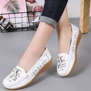 春季透气女鞋特大码41 44镂空单鞋坡跟浅口妈妈鞋40 43防滑孕妇鞋