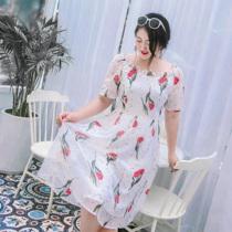 辣妈起义大码女装2019胖mm夏减龄印花雪纺裙显瘦藏肉胖妹妹连衣裙