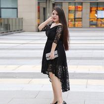 辣妈起义大码女装时髦燕尾两件套蕾丝连衣裙秋装2018胖mm遮肉套装