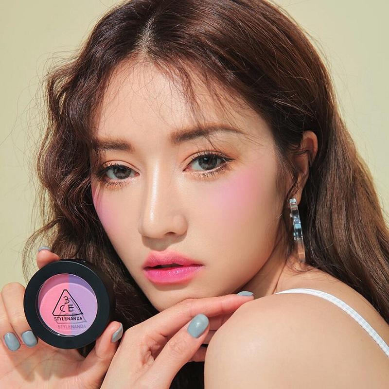 韩国直邮 3CE duo color 两色腮红#cream de violette淡紫色粉色