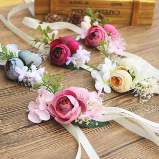 森系婚礼新娘新郎手腕花胸花结婚婚礼用品姐妹团手花婚纱摄影道具