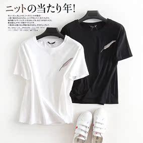 欧洲单 品质单品!时尚羽毛刺绣舒适百搭圆领短袖T恤DMT804241