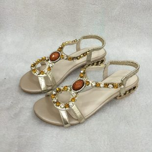尾单尾货 粗跟水钻串珠松紧带女鞋 中跟夏季罗马凉鞋女