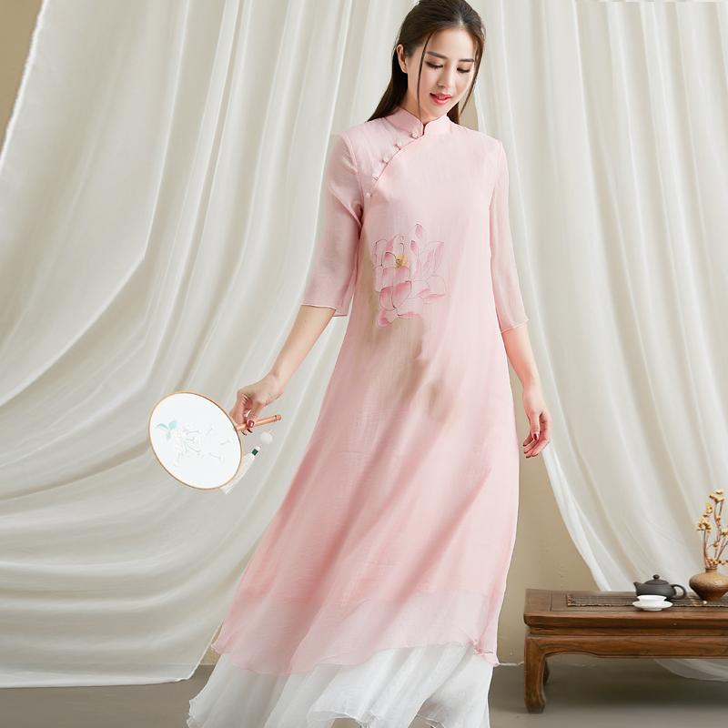 牡丹花连衣长裙