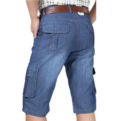 天天特价肥佬大码牛仔短裤男中年夏休闲宽松高腰深薄款7分中马裤