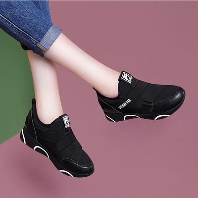 运动鞋2018新款秋季韩版百搭内增高学生黑色一脚蹬休闲跑步女鞋子