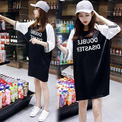 2019春夏新品韩版女装宽松大码学院风中长款五分袖T恤裙女连衣裙