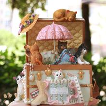 猫咪百宝箱旋转复古音乐盒八音盒天空之城送儿童生日礼物创意摆件
