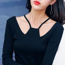 女装春季挂脖细带方块长袖T恤韩大码肚兜修身露背圆领上衣打底衫