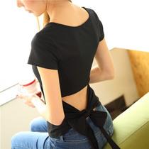 夏季新款女装韩版修身圆领短袖t恤时尚露背蝴蝶结系带大码打底衫