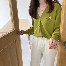 牛油果绿针织开衫女2019夏季新款韩版薄款宽松v领短款毛衣外套潮