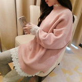 Chao Ma's Autumn and Winter Lace Pregnant Women's Sweaters, Dresses, Suits, Long Loose Knitted Bottom Blouses, Two Suits