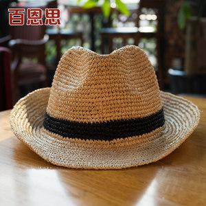 百恩思 夏季拉菲草帽沙滩帽遮阳帽英伦男女短檐礼帽防晒可折叠潮