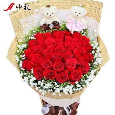 鲜花33朵红玫瑰深圳鲜花同城速递全国生日礼盒送花爱人北京上海