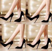 2018欧美超高跟绒面黑色职业鞋12cm细跟磨砂真皮尖头浅口单鞋女