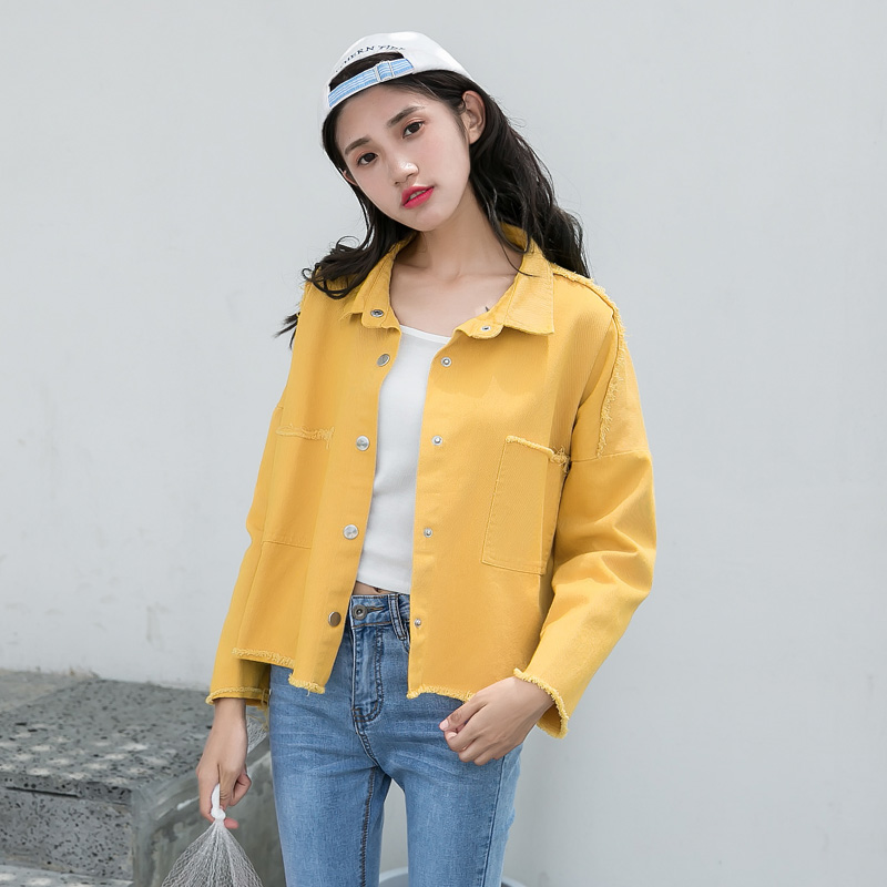屈小姐2018 spring new POLO collar short jacket female student button