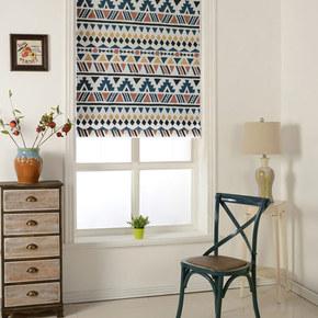 北欧罗马帘升降帘卷帘  简约卧室飘窗升降罗马窗帘定制提拉帘遮光