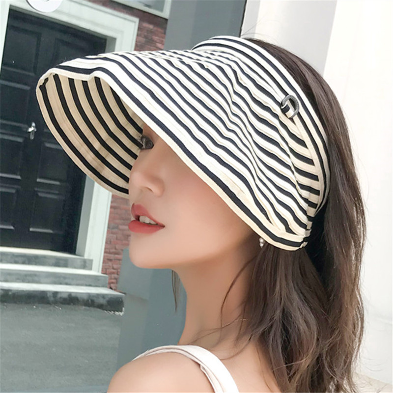 遮阳帽子女夏遮脸沙滩度假可折叠速干太阳帽韩版休闲百搭空顶帽