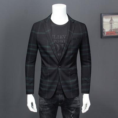 春装新款男士格子休闲西装韩版修身时尚薄款西服外套青春流行单西
