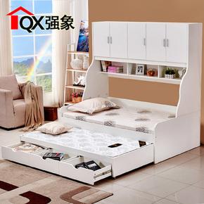 环保子母床拖床双层抽拉床1.2米双人带储物带抽屉儿童床CH-012