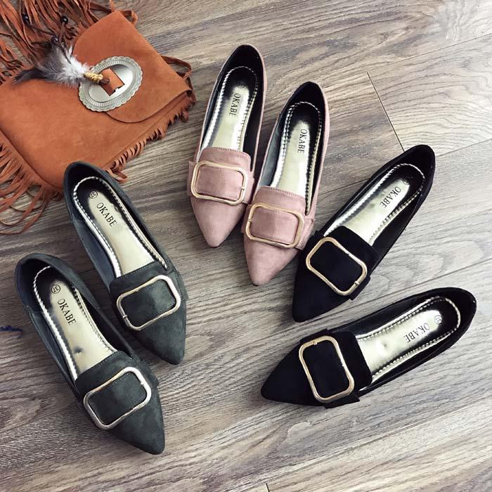 韩国百搭平底尖头鞋
