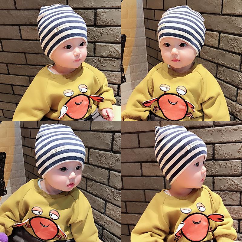春秋冬季新生儿童纯棉帽子围脖两件套宝宝帽围巾套装婴儿胎帽脖套