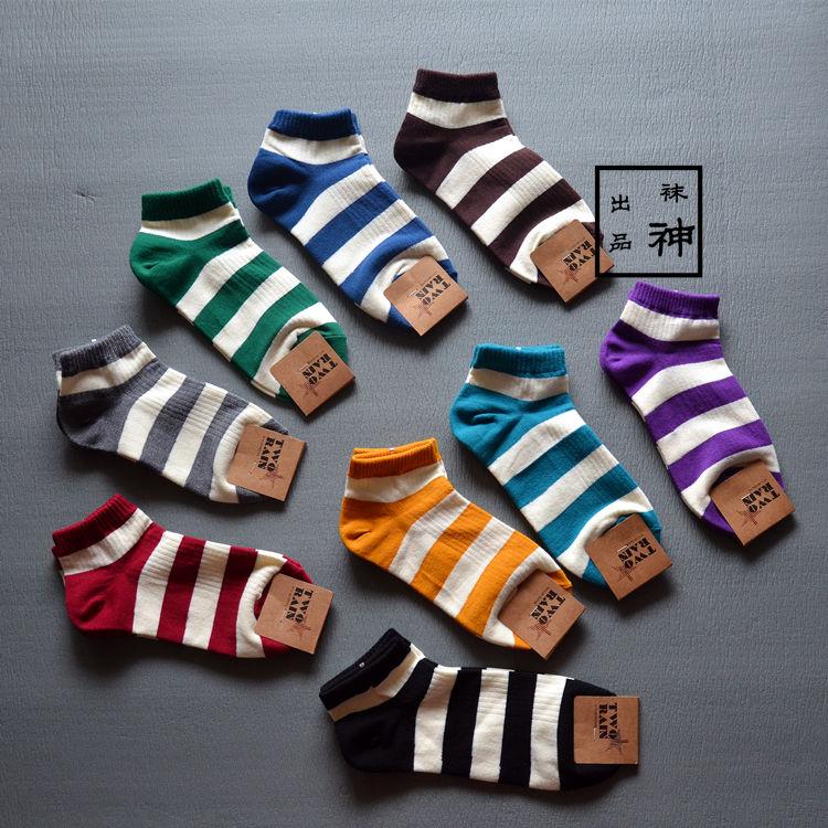 袜神出品韩国春夏薄短袜时尚男女袜纯棉绿色黑白条纹男/女士袜子