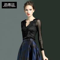 海青蓝2018秋装新款V领性感蕾丝拼接气质网纱打底衫女长袖修身潮