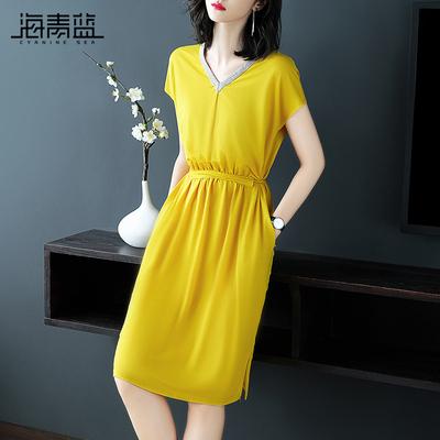 海青蓝2018夏季新款女装欧美时尚V领短袖宽松休闲气质连衣裙02935