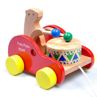 Baby child drag line walker bear bear drum beat wooden drag toy car early education educational toys