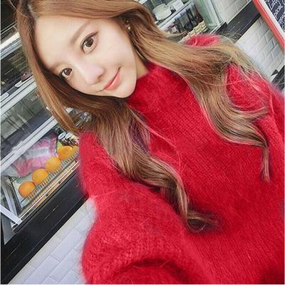 韩国秋冬季新款半高领大红色貂绒毛衣女套头宽松加厚原宿外套上衣