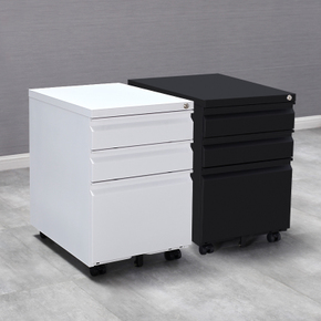 洛克菲勒钢制文件活动柜三抽屉柜 办公储物矮柜移动铁皮柜子带锁