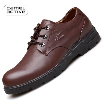 德国骆驼动感新款工装鞋男士商务休闲鞋英伦真皮低帮鞋系带大头鞋