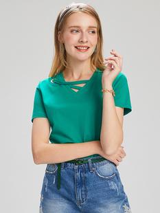 【爆款热卖】熙世界2019夏款宽松显瘦小心机短袖T恤女白色大码女